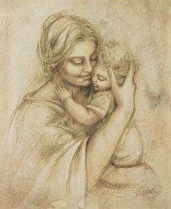 246x300 Mother Holding Baby Drawing 246x300