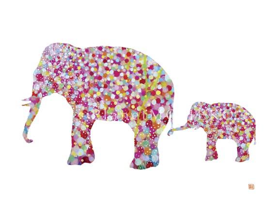 570x440 Elephant Mother And Child 8.5 X 11 Giclee Print.modern Nursery