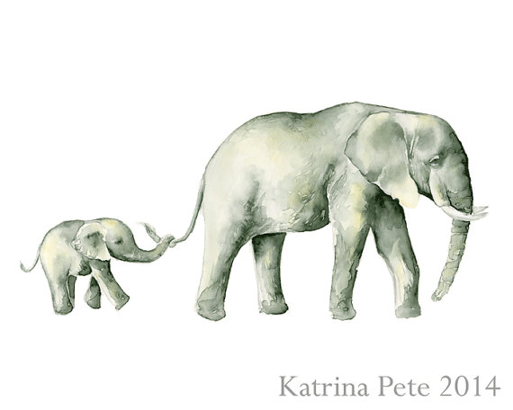 570x456 Elephants Holding Tails Print Of My Original Watercolor Painting