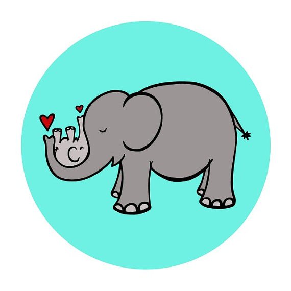 570x570 Gray Momma Elephant Cradling Baby Elephant In Turquoise Teal