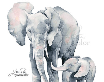 340x270 Items Similar To Elephants Holding Tails Print Of My Original
