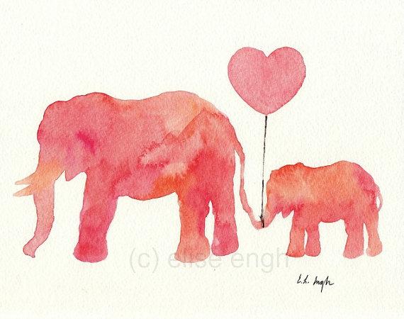 570x450 Mom And Baby Elephant Heart Clipart
