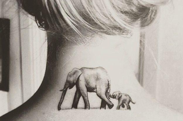 625x415 Mother Elephant With Baby Elephant Tattoo On Girl Nape