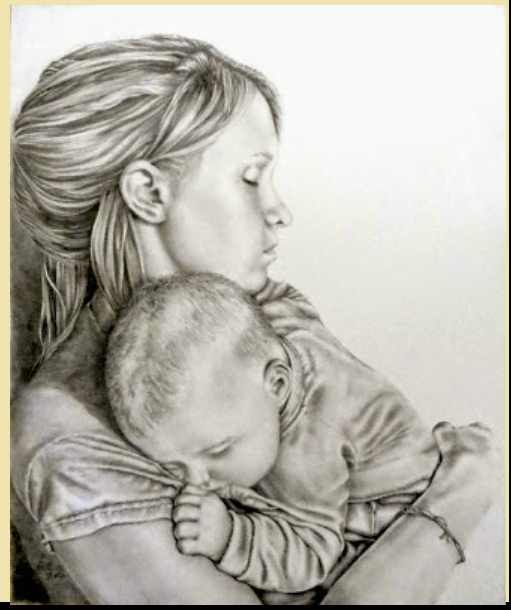 511x610 1mother And Baby Pencil Drawings 74955331.jpg Mom Life