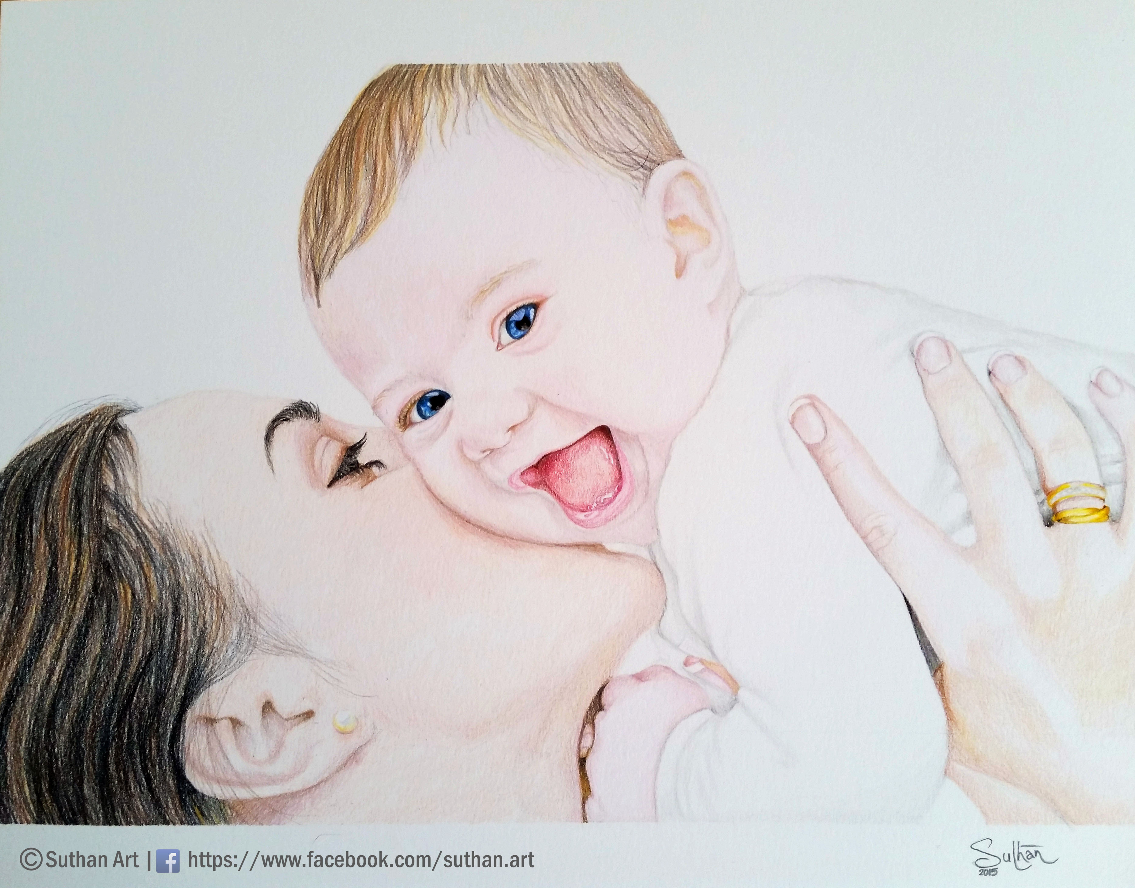 3736x2924 Mother And Baby Pencil Drawing Hd Coloured Pencil Drawings