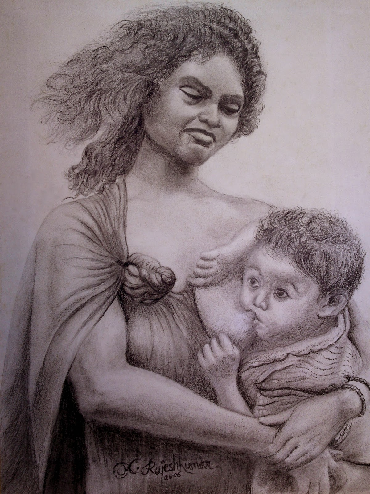 1200x1600 Mother And Baby.pencil Sketch Varna Thoolika