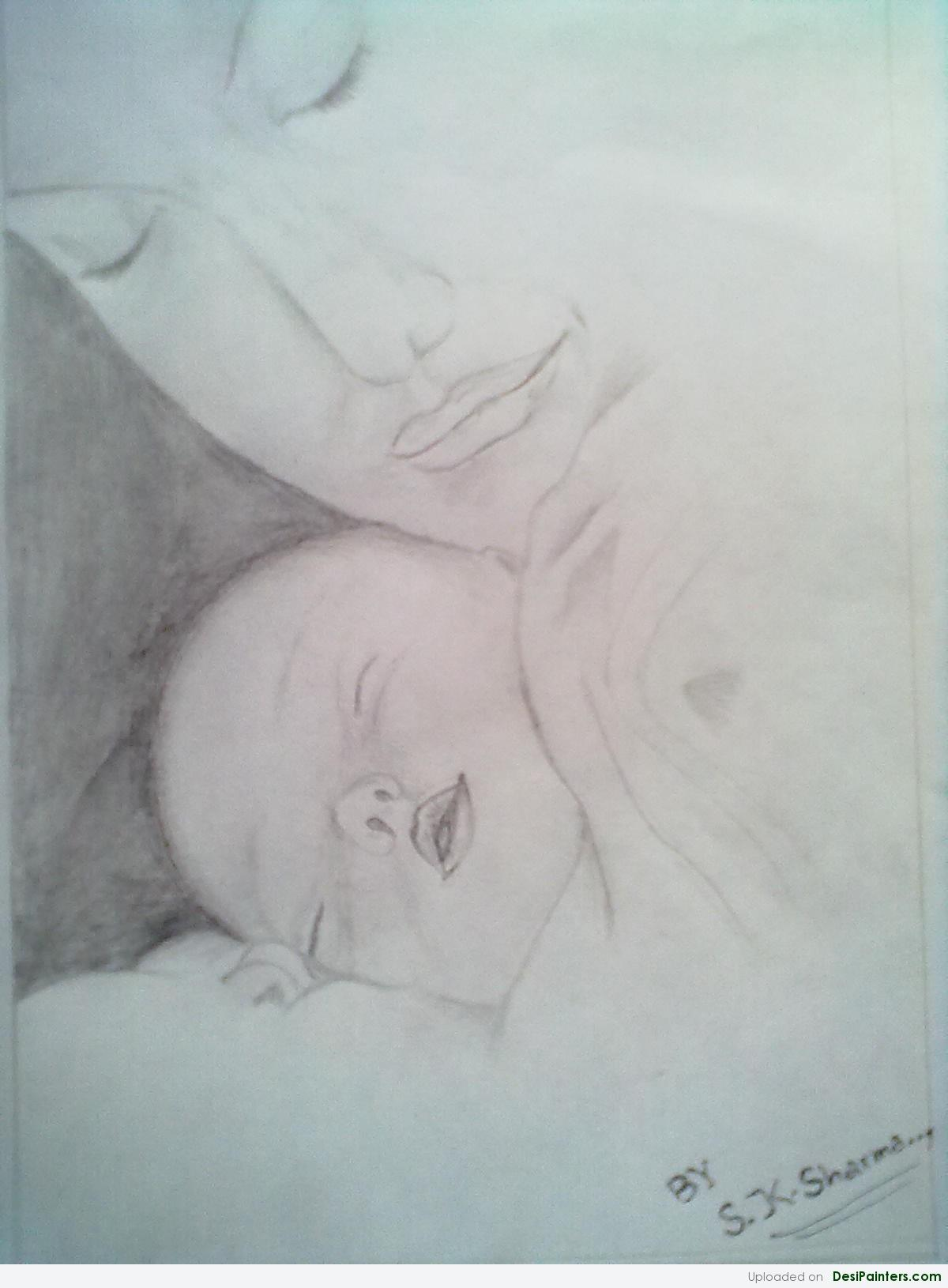 1200x1630 Pencil Sketch Of A Mother And Baby