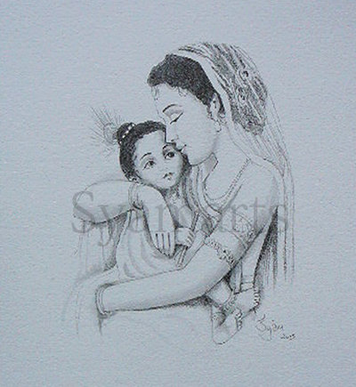 400x435 madonna mother yasoda child krishna syamarts original drawing