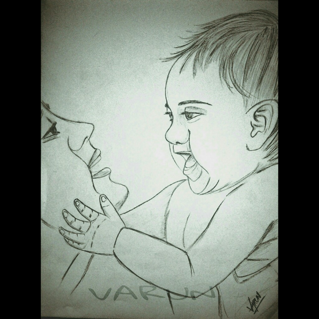 1024x1024 Mother Baby Love Cute Sketch Pencil Art