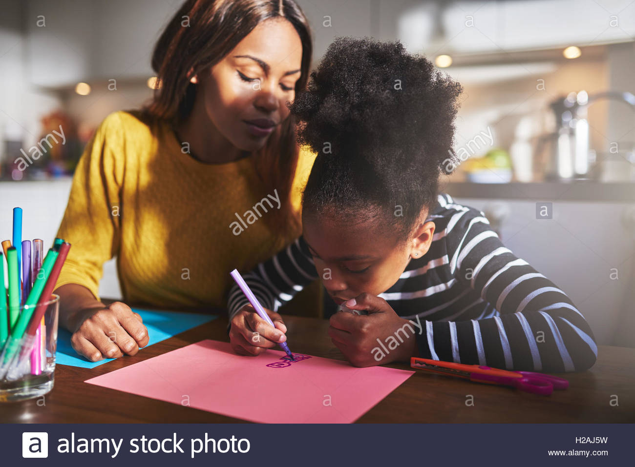 1300x957 Mom And Child Drawing In Kitchen, Black Mother And Daughter Stock