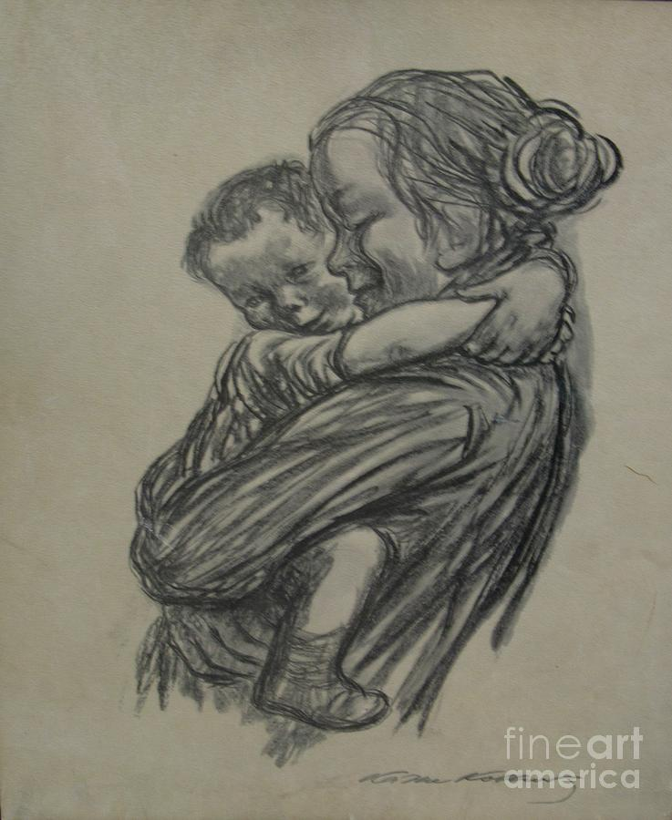737x900 Mother And Child Charcoal Drawing Drawing By Anthony Morretta