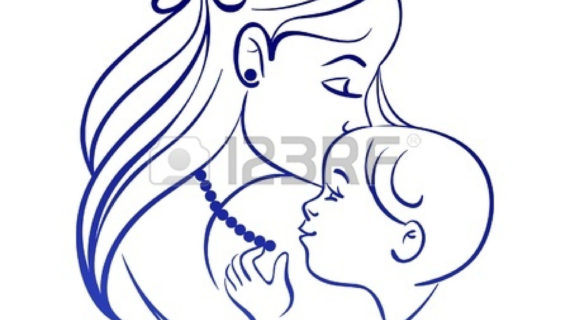 570x320 mother and child drawing mother and baby line drawing clipart