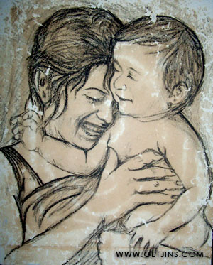 300x373 Mother And Child Pencil Drawing Jinson Joseph Elayidom