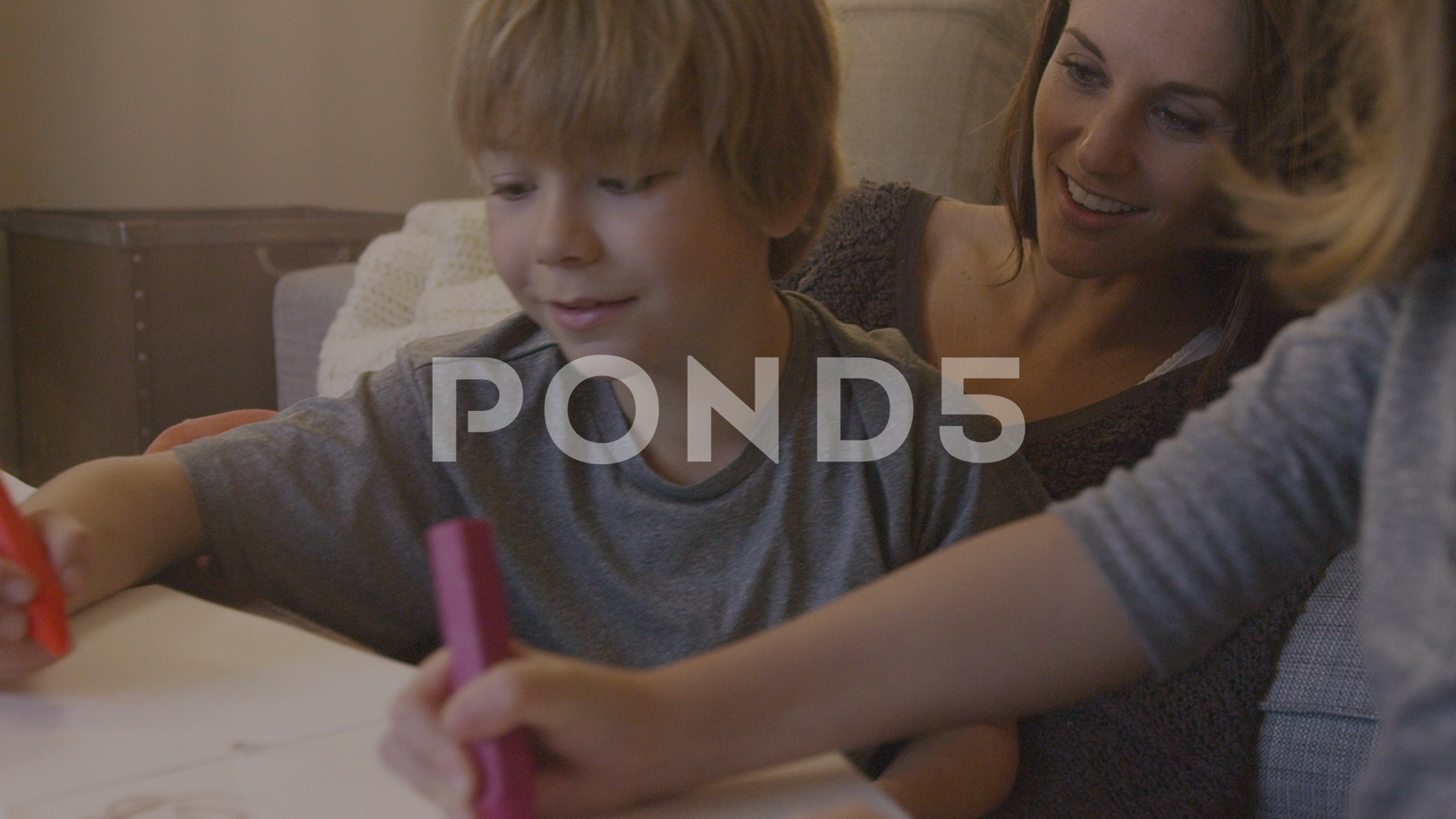 1920x1080 Handheld Shot Of Mother With Children Drawing On Papers