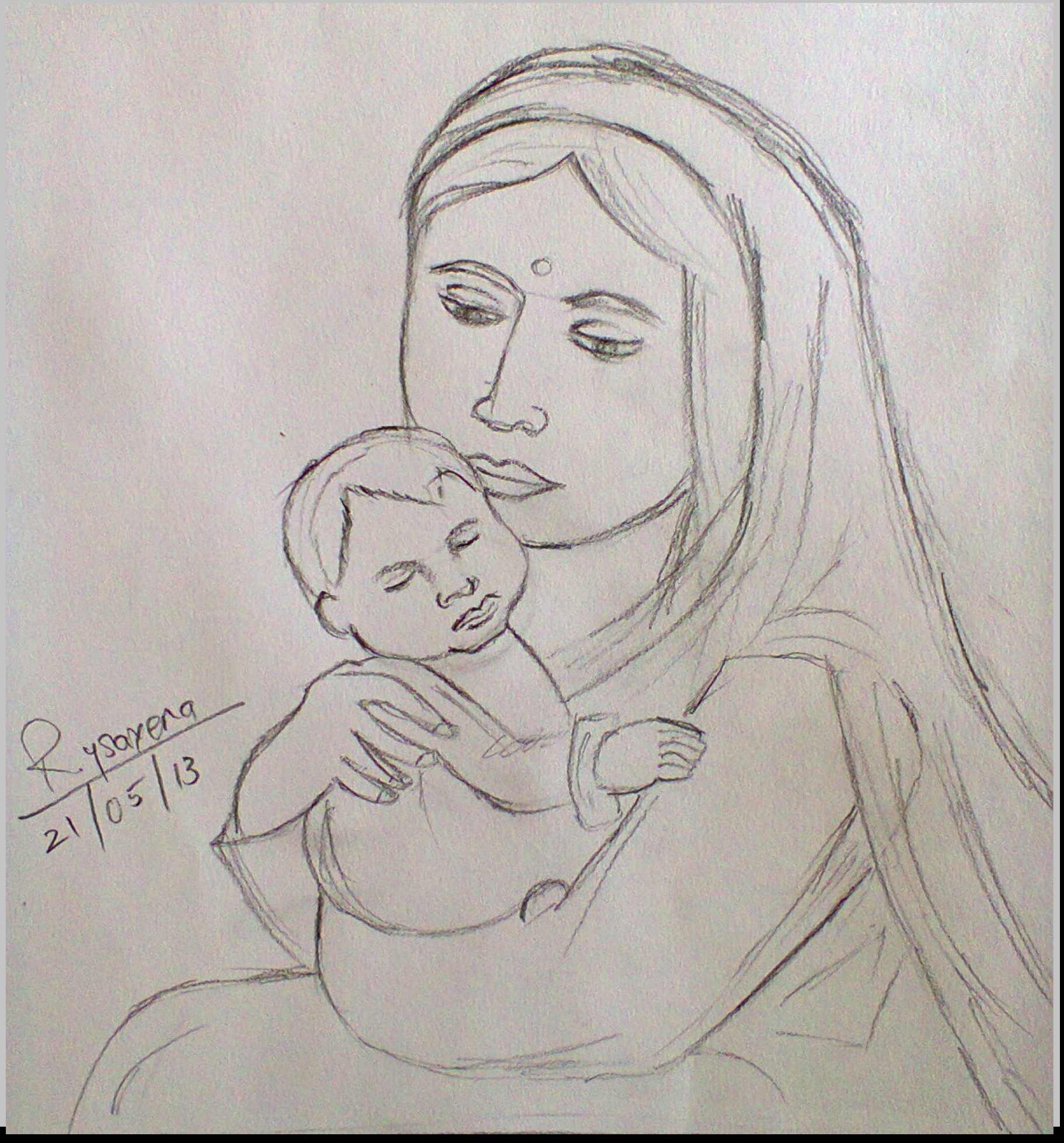 1823x1959 Mother's Amp Children Pencil Drawing Pencil Drawings Of Mother