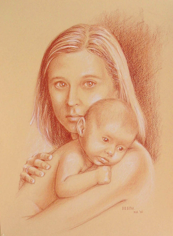 660x900 Mother And Child Drawing By Bob Botha