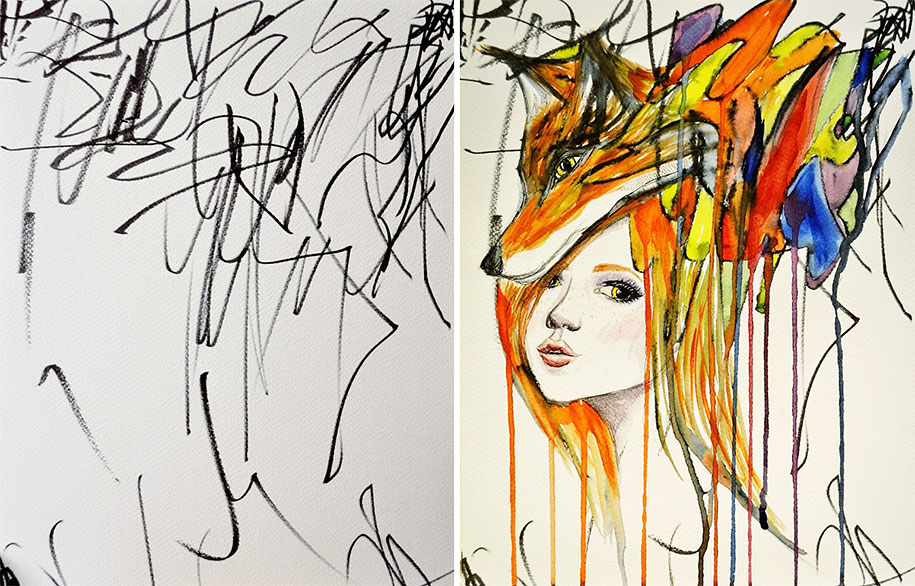 915x586 Mother Turns Her 2 Year Old's Scribbles Into Watercolours