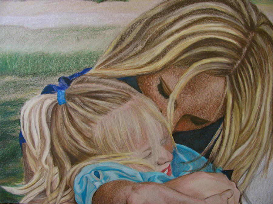 900x675 Mother And Daughter Drawing By Kathryn Rose