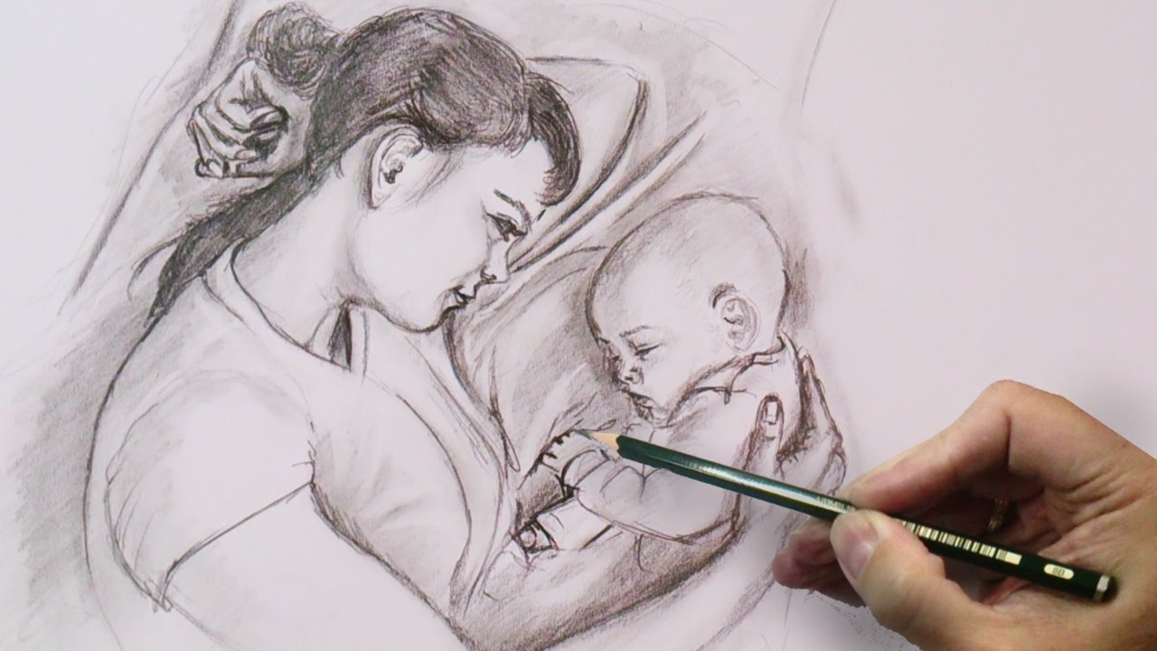 1280x720 Mother Daughter Pencil Art Mother's Love Drawing Emotions