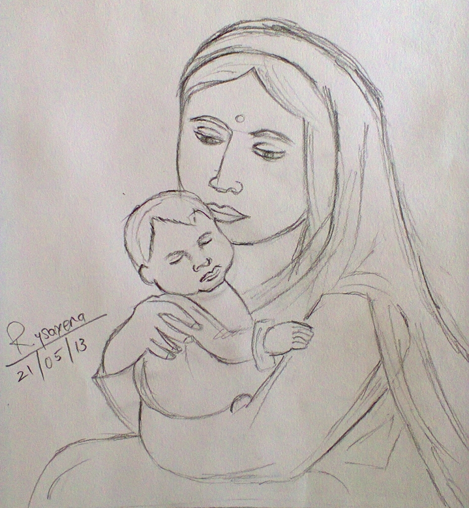 947x1024 Mother Daughter Pencil Sketch Pencil Drawings Of Mother And Child