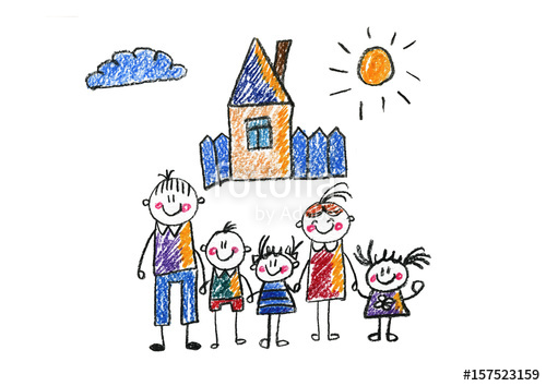 500x354 Kids Drawing Happy Family Mother, Father, Sister, Brother Happy