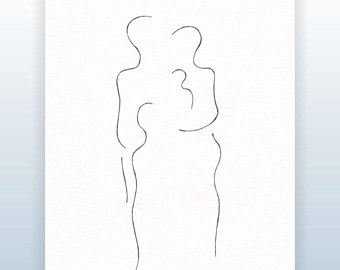 340x270 Original Sketch. Minimalist Drawing Of A Mother With Baby. Pen