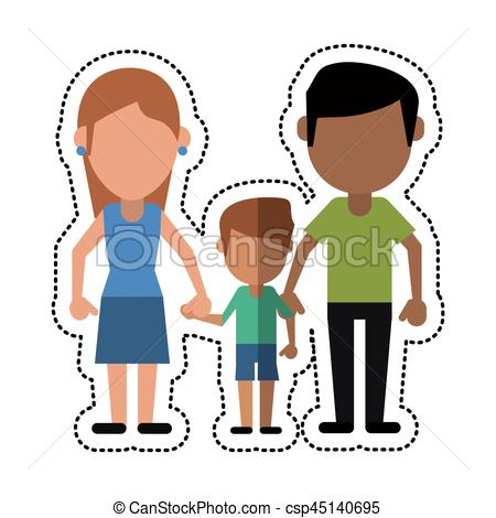 450x470 Cartoon Father Mother And Son Hing Hands Vector Illustration