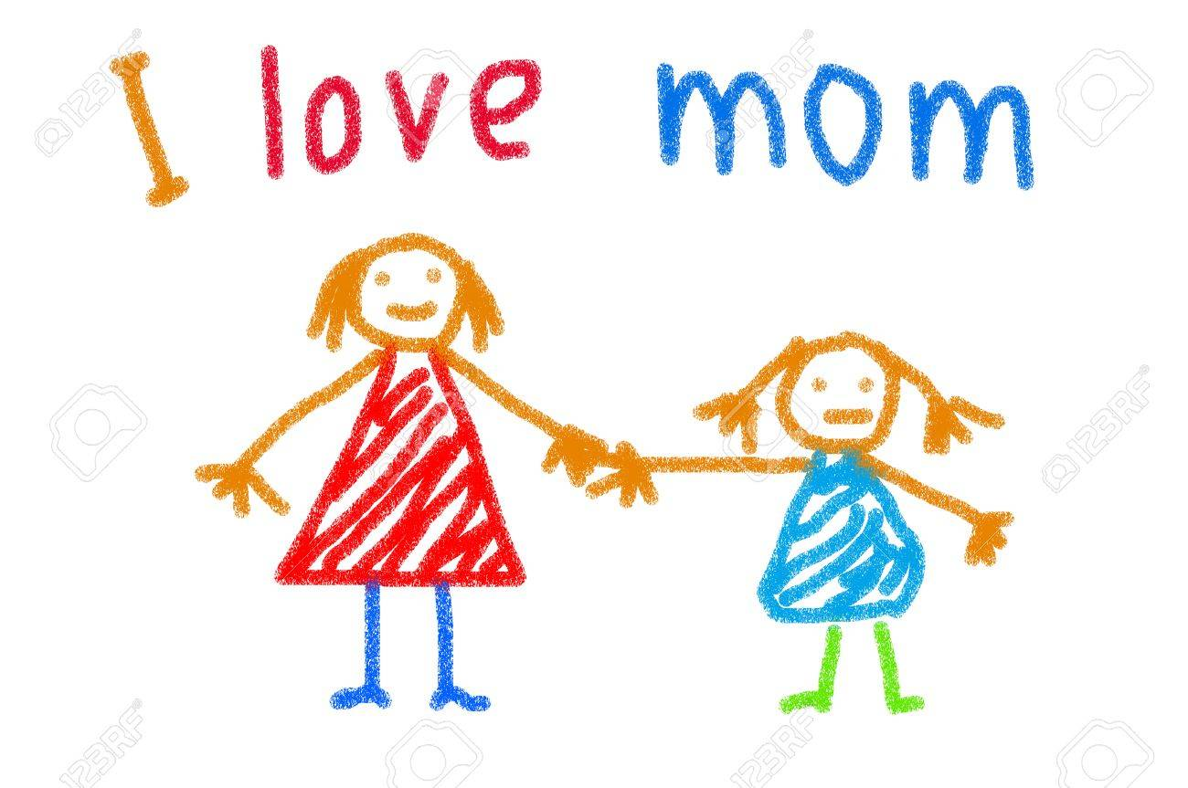 1300x863 Child Drawing Of Her Mother For Mother's Day Stock Photo, Picture