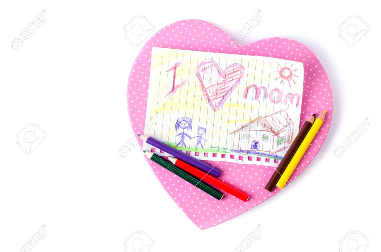1300x861 Child Drawing Of Her Mother For Mother's Day With Pink Box Heart
