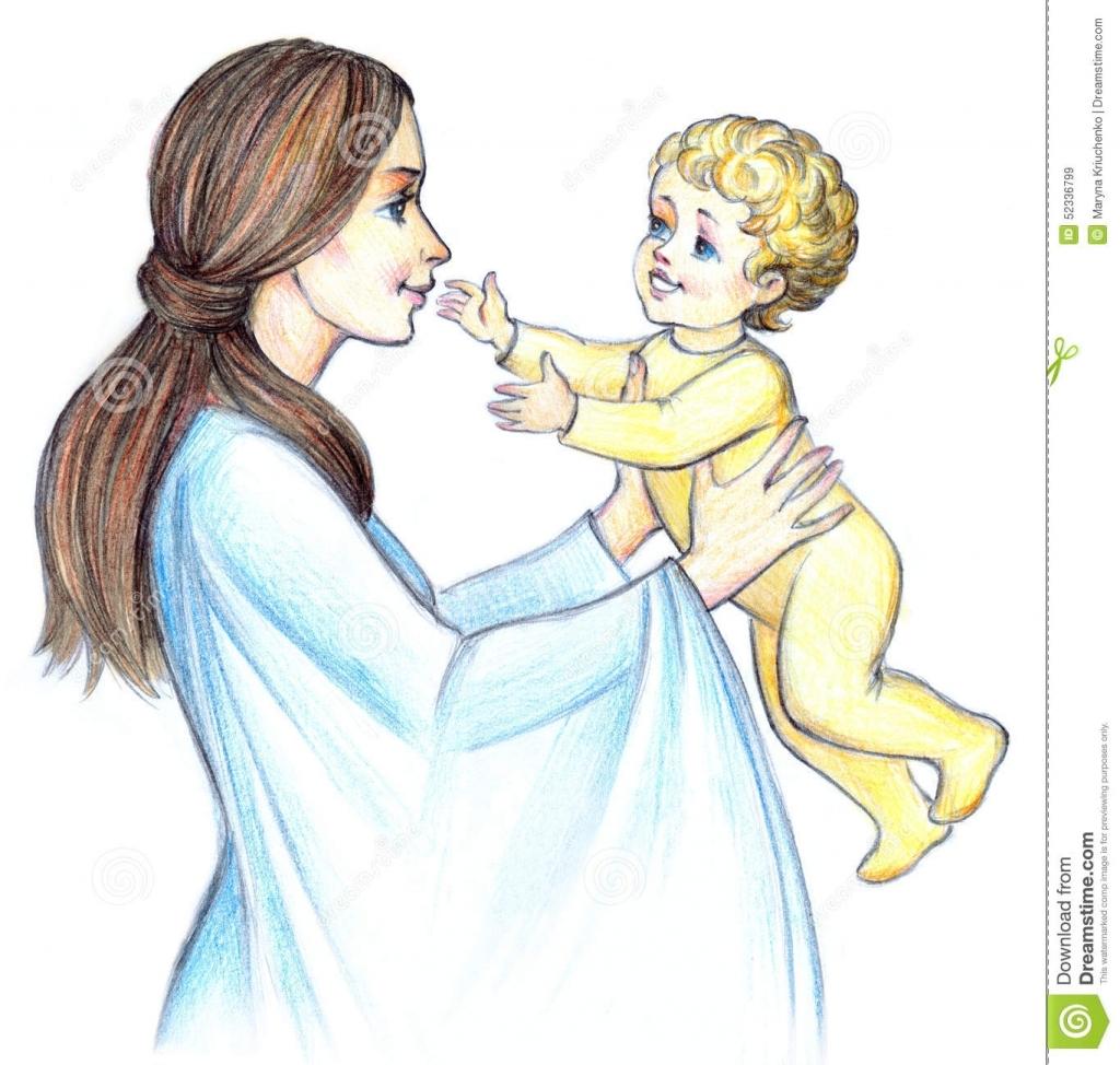 1024x974 Mother And Child Pencil Painting Pictures With Using Colours