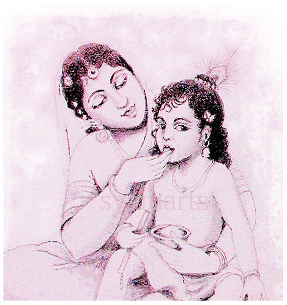570x606 Mother Child Krishna And Yasoda Madonna Syamarts Baby Showers
