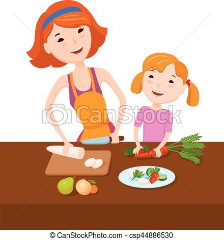 440x470 Mom Teaches Daughter To Cook. Mother And Daughter Prepare