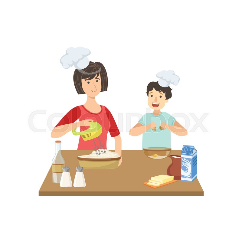 800x800 Mother And Child Cooking Together Illustration. Cute Simple