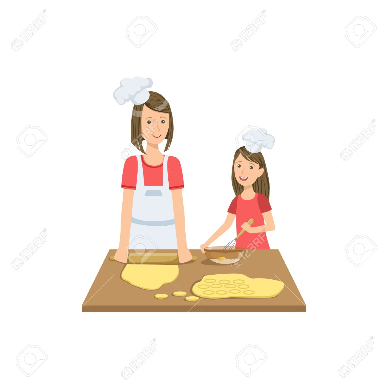 1300x1300 Mother And Child Making Cookies Together Illustration. Cute Simple