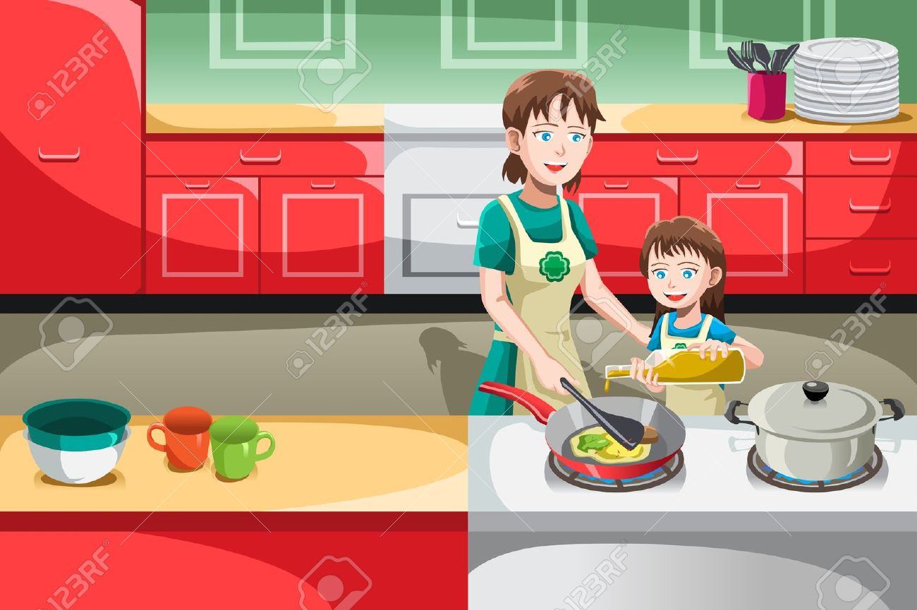 1300x866 Mother Cooking In The Kitchen Clipart 3 Clipart Station