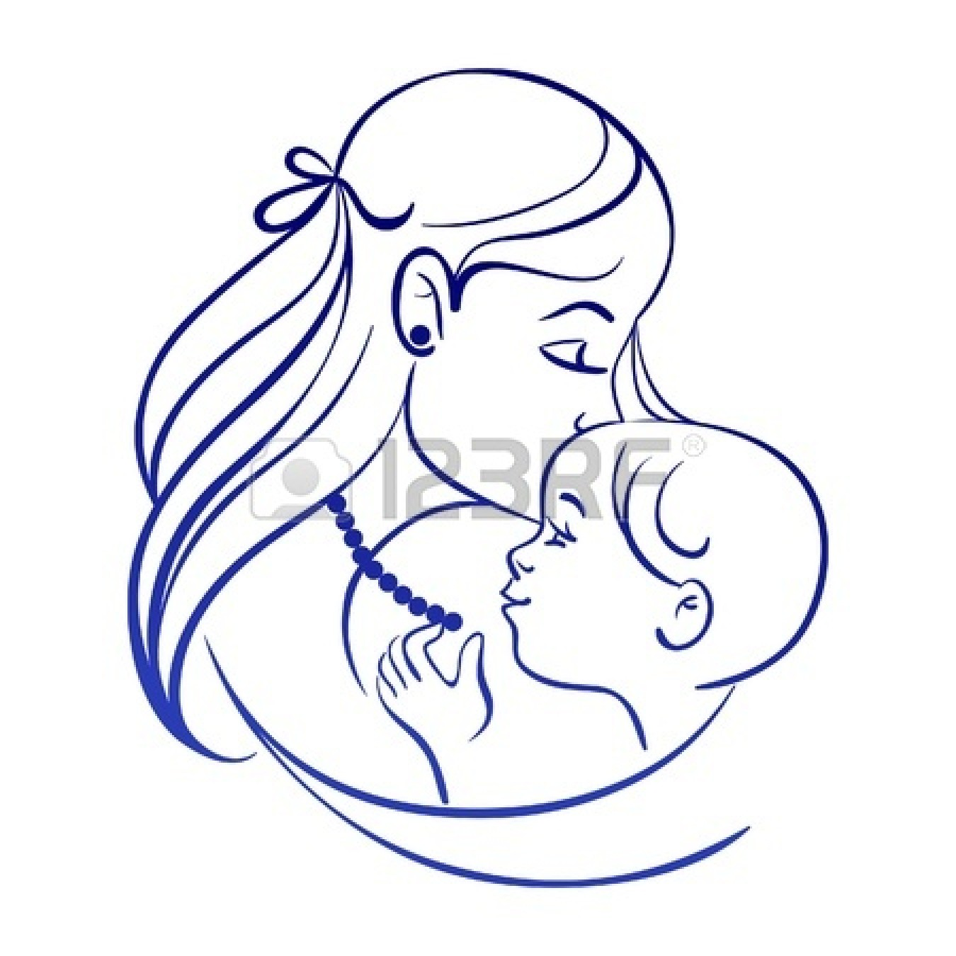1350x1350 mother and baby line drawing clipart panda