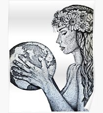 210x230 Mother Earth Drawing Posters Redbubble