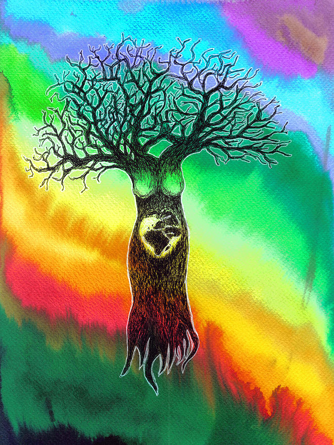 675x900 Mother Earth Tree. Drawing By Ciprian Gherghias