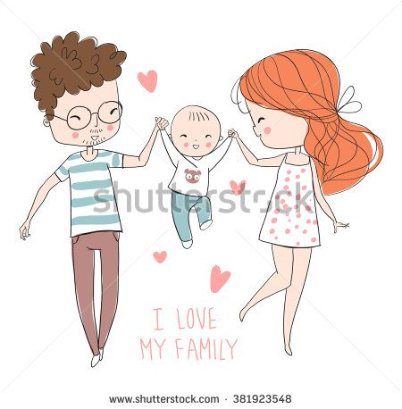 450x458 Happy Family. Father, Mother, Baby. Dolls And Miniatures