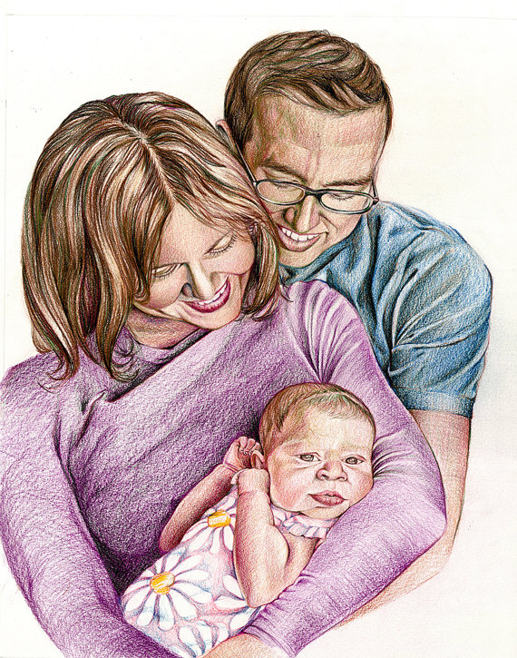 570x725 Items Similar To Custom Drawing From Photo Original Colored Pencil