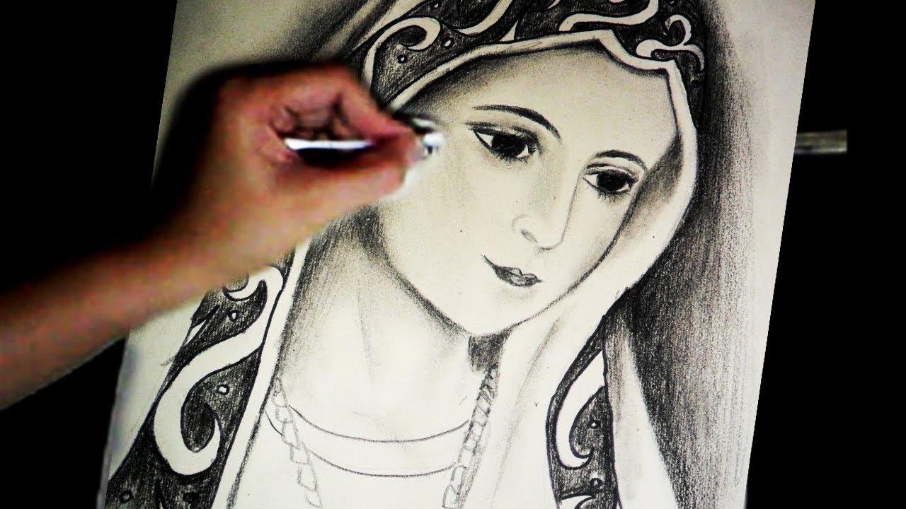 1280x720 Virgin Mary's Portrait Pencil Speed Drawing By Joecymijares