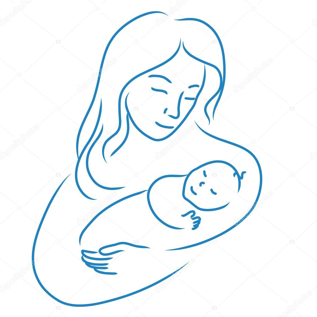 1024x1024 Drawn Baby Mother Vector