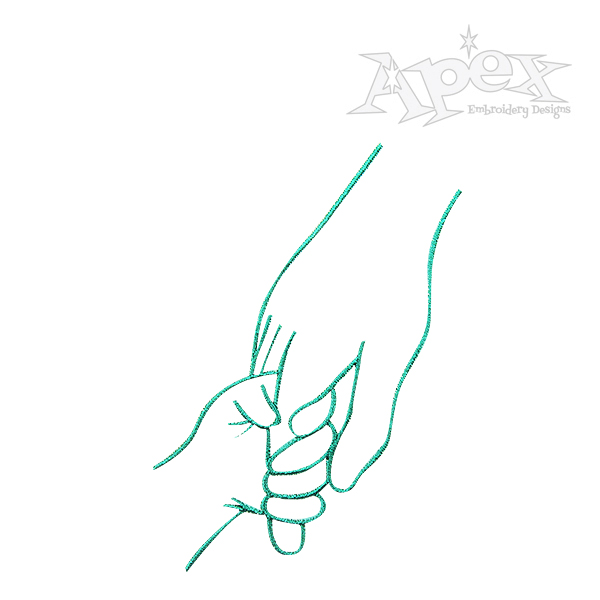600x600 Hands Parent And Child Embroidery Design