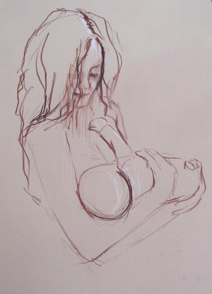 425x588 Mother And Baby Drawings