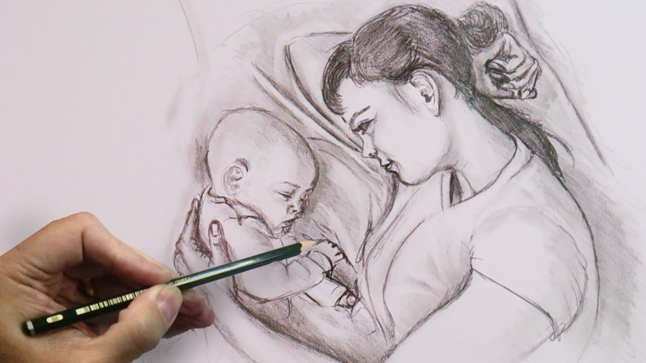 1280x720 Pencil Painting Mom And Baby Mother And Baby Drawing