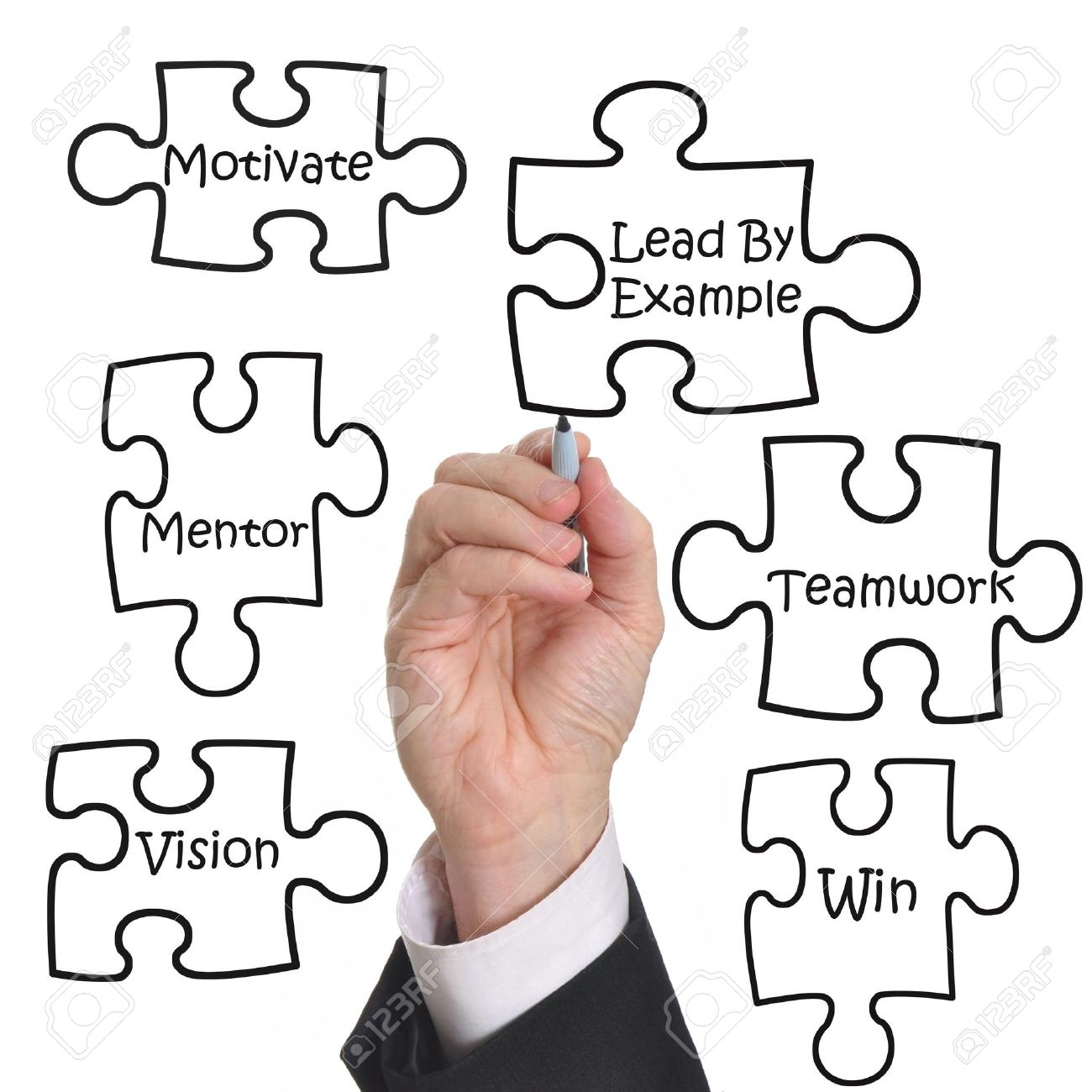 1300x1300 Male Executive Drawing A Puzzle Of A Business Motivation Concept
