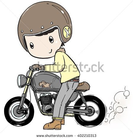450x470 Cute Cartoon Boy Ride Motorcycle Burning Tire Stock Vector