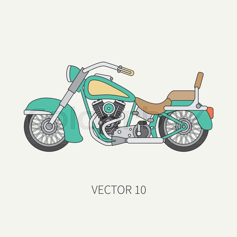 800x800 Line Flat Color Vector Motorcycle Icon