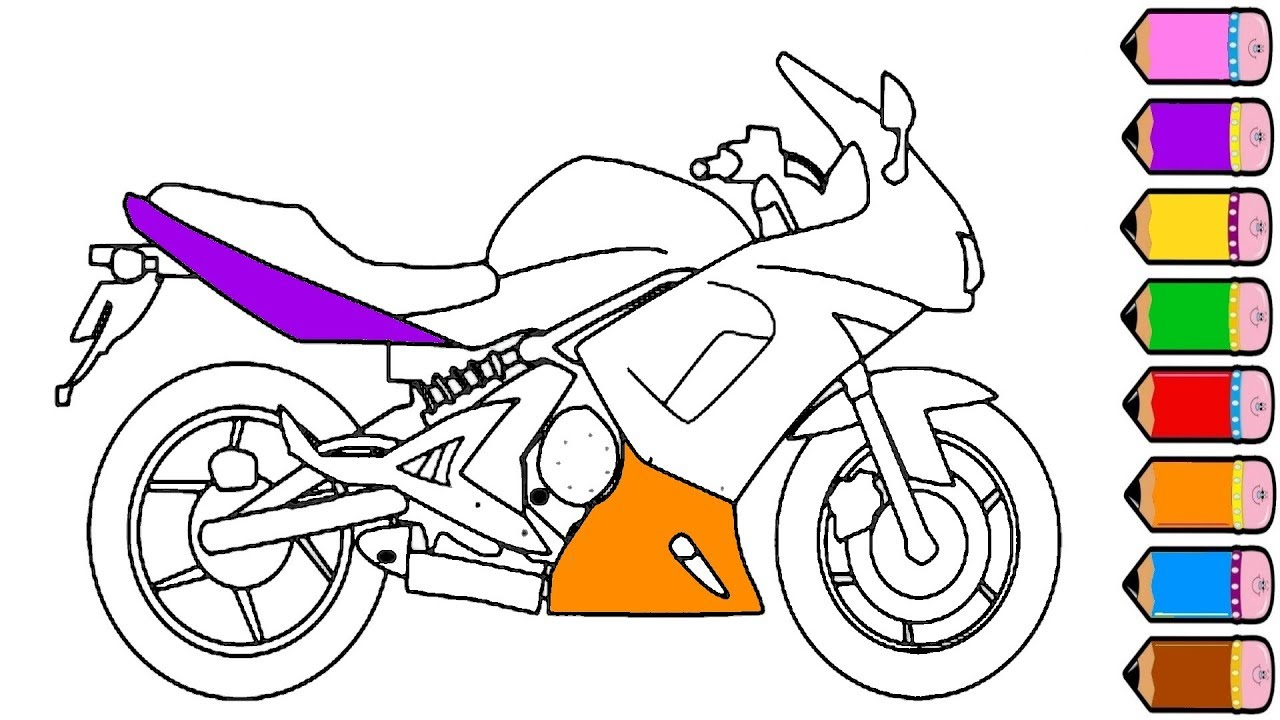 1280x720 Motorcycle Coloring Page