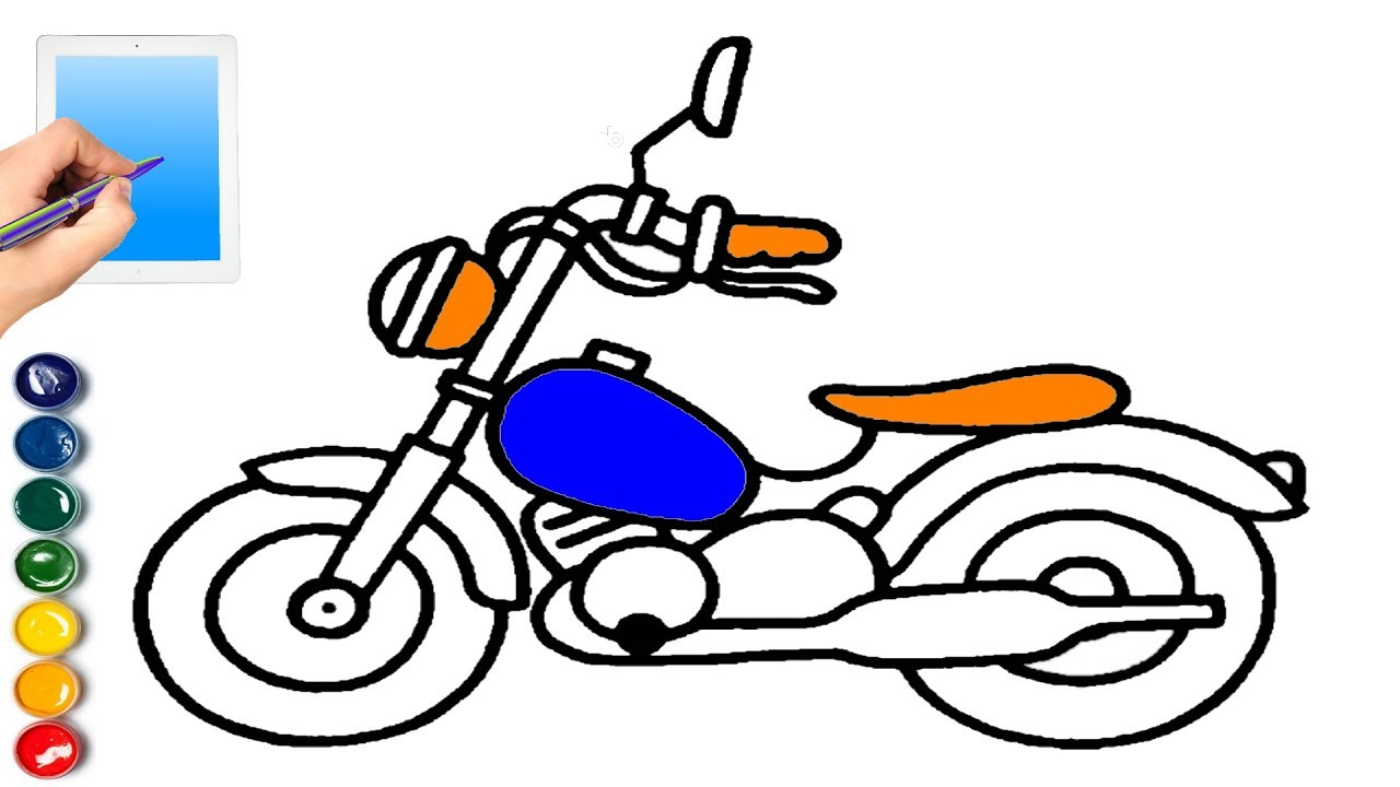 1280x720 Motorcycle Coloring Page For Children